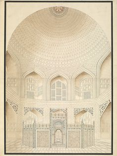 Six drawings of the Mughal architecture at Agra and Delhi. (Architectural drawing)   V Search the Collections