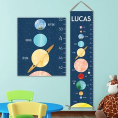 Space Growth Chart - Personalized Canvas Growth Chart, Space Nursery Decor or Solar System Nursery, Solar System Print - GC3015S by JoliePrints on Etsy
