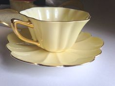 Shelley Teacup and Saucer / Yellow Cup and Saucer / Stratford Shape / Tea Cup / Shelley China / Tea Cups / Bridal / AprilsLuxuries Yellow Cups, Cuppa Tea, Teapots And Cups, China Tea Cups, Vintage Teacups, Vintage China, My Cup Of Tea, Tea Cup Saucer, High Tea
