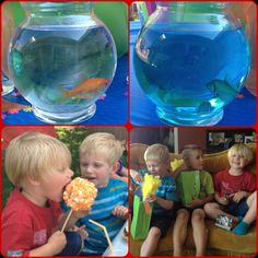 Dr Seuss party games, I used these little fish bowls and colored the water in one. There was one fish in one and 2 in the other. We played one fish two fish relay. The kids had to race while holding the fishbowl.