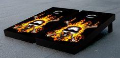 Flaming Skull and Crossbones Cornhole Game Set