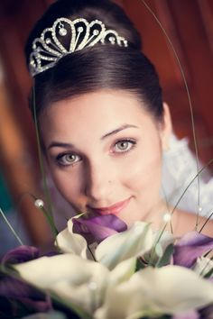 Trixi by Attila Palhegyi on 500px  Head portrait of bride with bouquet.