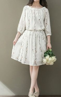 Women loose fit over plus size flower pocket dress skater tunic fashion chic - Woman Pic Trendy Dresses, Simple Dresses, Cute Dresses, Beautiful Dresses, Casual Dresses, Dress Outfits, Floral Dresses, Casual Clothes, Casual Shoes