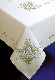 """Tobin Forget Me not Stamped Tablecloth Embroidery Kit 50""""X70"""" 