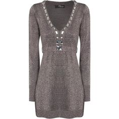 Silver Lurex Jewelled Tunic ($56) ❤ liked on Polyvore