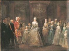 1729 King of Saxony and Poland visited Berlin, seen here with the Prussian royal family in the city-palace by Antoine Pesne (Schloss Charlottenburg, Berlin)