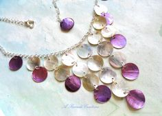 Purple Waterfall Necklace Women's Bib Necklace Cascading Shell Necklace Fashion Necklace Beach Jewelry Beach Necklace Shell Jewelry by ARexrodeCreations on Etsy