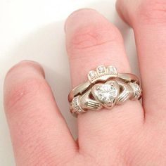 Items similar to Stacking Claddagh Engagment Wedding Ring Set - Moissanite and Diamonds - Palladium White Gold and Rose Gold Crown on Etsy , Claddagh Engagement Ring, Claddagh Rings, Engagement Rings, Irish Wedding Rings, Wedding Ring Bands, Wedding Vows, Wedding Dresses, Cute Jewelry, Jewelry Rings