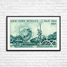New York World's Fair 1964 World's Fair poster New by USAStampArt Historical Art, World's Fair, Pigment Ink, Stamp Collecting, Poster Size Prints, Postage Stamps, New York City, Artwork, Canada