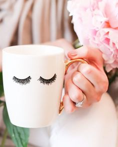 Time to make some tea, relax and binge watch on Netflix! ☕️ What better way than with our #eyelashes mug? Snag yours up in in the shop! Ps - coffee or tea... go! sweetwaterdecor.com
