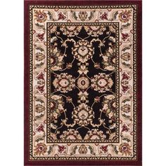 Dulcet Alana Black 7 ft. 10 in. x 9 ft. 10 in. Traditional Medallion Area Rug