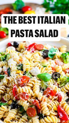 Easy Pasta Salad Recipe, Best Pasta Salad, Summer Pasta Salad, Pasta Salad Italian, Feta Pasta, Cold Pasta Salads, Pasta Salad Recipes Cold, Homemade Pasta Salad, Vegetable Pasta Recipes