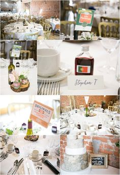 details of wedding tables at barn wedding, cheese theme, their own lables for each table. Copdock Hall barn suffolk, Rebecca Prigmore Photography