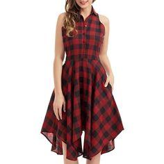 Handkerchief Tartan Shirt Dress ($17) ❤ liked on Polyvore featuring dresses, plaid shirt dress, red shirt dress, tartan dress, t-shirt dresses and long plaid shirt dress
