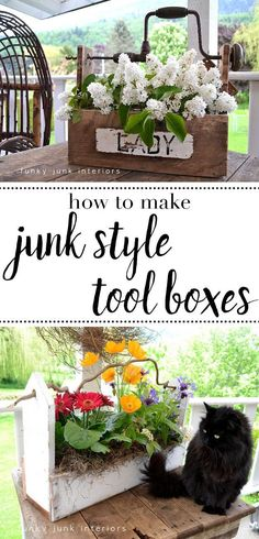 Adding this idea to my list: repurposing junk into pretty tool boxes. Now I've just got to keep my eye out for some good pallets and cool junk to make them with. #toolboxes #farmhousestyle #farmhousedecor #flowers