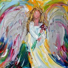 Original oil painting Angel with Flowers Portrait by Karensfineart