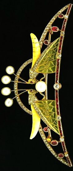 Art Nouveau Grasshopper Tiara, Spain (made by Luis Masriera; pearls, rubies, diamonds, enamel, gold).