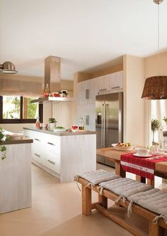 Kitchen island ideas for inspiration on creating your own dream kitchen. diy painted small kitchen design - with seating and lighting Kitchen Dinning Room, New Kitchen, Kitchen Decor, Crisp Kitchen, Dining Area, Awesome Kitchen, Kitchen Island, Beautiful Kitchens, Cool Kitchens