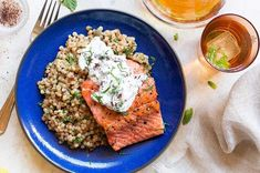 Photo of Sun Basket Wild salmon with mint tzatziki and pearl couscous, an example of one of the delicious recipes that are options for people who select Chef's Choice as their Meal Delivery meal plan. Easy Cooking, Healthy Cooking, Healthy Eating, Healthy Recipes, Healthy Foods, Easy Recipes, Delicious Recipes, Slow Cooking, Healthy Nutrition