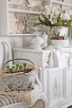 Shabby Chic pretty buffet & hanging dish shelf