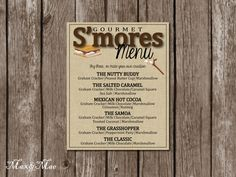 S'mores Bar Menu, S'mores Sign, Camping Party, S'mores Wedding Bar, Digital by MaxandMaeInvites on Etsy https://www.etsy.com/listing/208064922/smores-bar-menu-smores-sign-camping