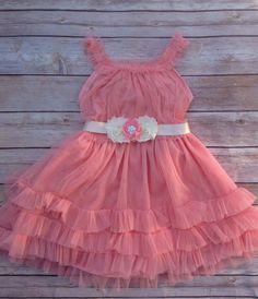 Salmon Coral Pink Toddler Girls Tutu Dress by AvaMadisonBoutique, $46.00