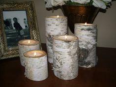 etsy birch bark log candles!
