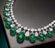 Graff Cabochon Emerald, Diamond and Platinum Necklace