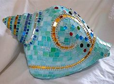 Conch Shell Mosaic Garden Ornament     Price by glassmagic on Etsy, $200.00