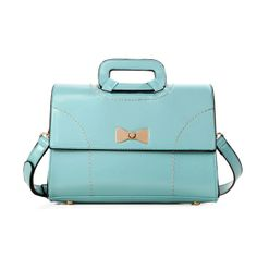 Western Solid Color Zipper PU Bow Handbag Blue