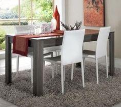 Table de salle à manger contemporaine PORTO, coloris Wenguë