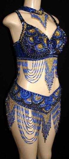 blue & gold dance costume