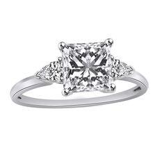 14K White Gold 2.00Carat Princess Cut Three-Stone Engagement Ring #AffinityDiamondJewelry #ThreeStone #Christmas