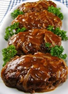 Salisbury Steak with Caramelized Onion Gravy - cravin' diner Ground Beef Recipes, Pork Recipes, Cooking Recipes, Healthy Recipes, Recipies, Cooking Tips, Cookbook Recipes, Yummy Recipes, Hamburger Recipes