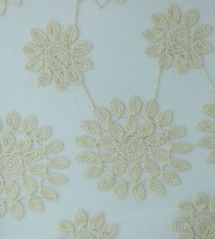 Camille Apparel Fabric- Embr Mesh Floral Ivory, , hi-res