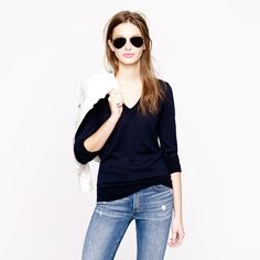 Merino V-neck sweater- I have approximately 5 of these in different colors for the cold months