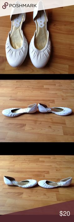 Leather Flat Shoes Worn Only 1x; Leather White Flats with Cover d Heel and To s and Exposed Foot; small scratch on right shoe front side as shown in last pick Carlos Borello Shoes Flats & Loafers