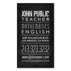 Teacher Tutor Chalkboard Business Card. This is a fully customizable business card and available on several paper types for your needs. You can upload your own image or use the image as is. Just click this template to get started!