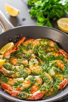 camarón con ajo y perejil Mantequilla