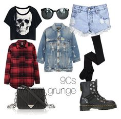 """90s grunge"" by karma-yoseob on Polyvore featuring R13, Glamorous, Dr. Martens, Chicnova Fashion and Alexander Wang"