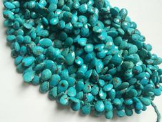 Arizona Turquoise Faceted Pear Beads Natural by gemsforjewels