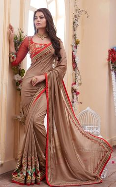 Georgette Cream Coloured Saree For Youngsters