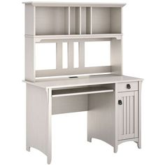 Salinas Mission Antique White Computer Desk with Hutch ($245) ❤ liked on Polyvore featuring home, furniture, desks, desk, brown, tables, mission furniture, off white computer desk, mission style furniture and mission computer desk