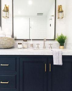 Blue Bathroom Vanity Navy Vanity Gold Hardware Marble Vanity Gold Sconces Styling Home Decor Interior Design Marbles And Vanities Blue Bathroom Vanity Double Sink Cool Kitchens, Bathroom Decor, Amazing Bathrooms, House Bathroom, Bathrooms Remodel, Bathroom Renos, Navy Bathroom, Kitchen And Bath, Bathroom Design