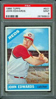 1966 TOPPS BASEBALL #507 JOHN EDWARDS PSA 9