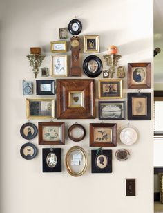 """Unexpected Ways to Incorporate Heirlooms & Antiques into Your Home """"The Wall of Smalls"""" is a work of art in its own right! Read more at """"The Wall of Smalls"""" is a work of art in its own right! Frames On Wall, Home And Living, Living Room Decor, Diy Home Decor, Sweet Home, Wall Decor, House Design, Interior Design, Cheap Frames"""