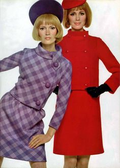 Pierre Cardin - Christian Dior 1960s designer couture suit dress red purple grey pink plaid short mini dress hat hair mod MCM