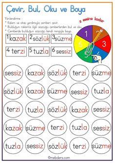 Çevir, Bul, Oku ve Boya Etkinliği - Z Sesine Kadar Primary School, Bullet Journal, Blog, Activities, Writing, Math, Reading, Creative, Rage