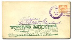 United States, Scott C1. Airmail, 1918, 6c orange (Scott C1), 6c tied by Jan 11 1919 Airmail Service Wash NY Phila Washington on a Roessler Winged Letters cover, addressed to Moundstone England; trivial edge flaws, Very Fine. Scott $50. Suggested Bid $200.
