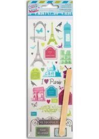 Cette planche de décalcomanies ou transferts (rub-ons) comporte environ 35 motifs en couleur sur le thème de Paris et ses monuments pour transférer vos envies créatives et décoratives !